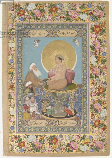 Jahangir Preferring a Sufi Shaikh to Kings, illustration from the 'St. Petersburg Album', c.1615-18 (w/c, ink & gold on paper)
