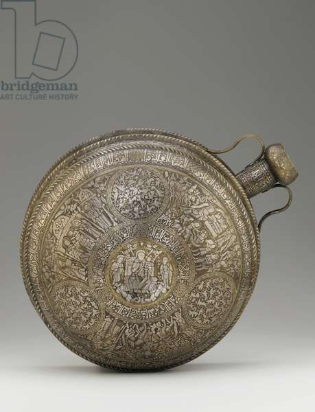 Canteen, from Syria or Northern Iraq, Ayyubid period, mid-13th century (brass, silver inlay)