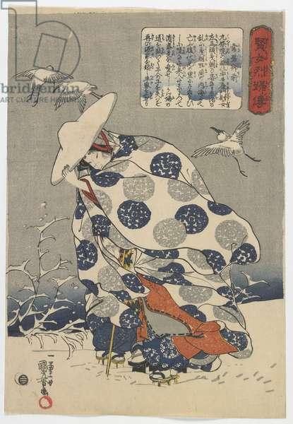 Stories of Wise and Virtuous Women: Tokiwa Gozen, Edo period, c.1841-42 (colour woodblock print)