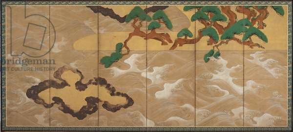 Waves at Matsushima, Edo Period (ink, colour, gold & silver on paper)