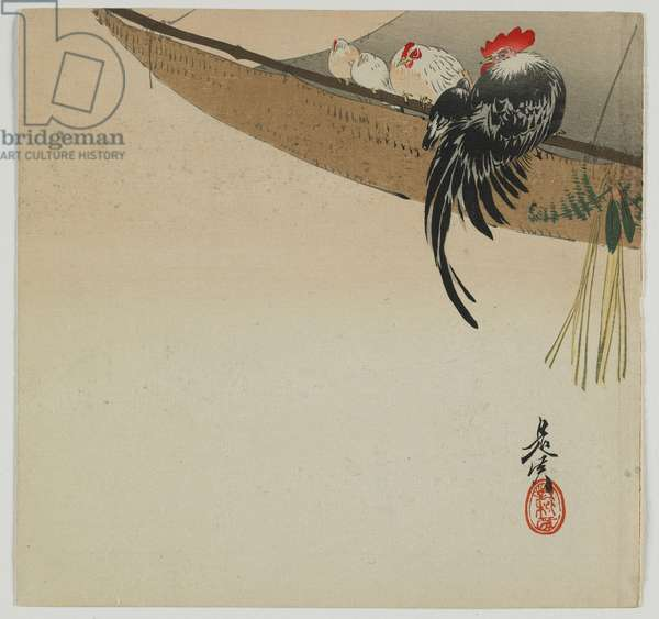 Chickens roosting on a sail, Meiji era, late 19th century (colour woodblock print)