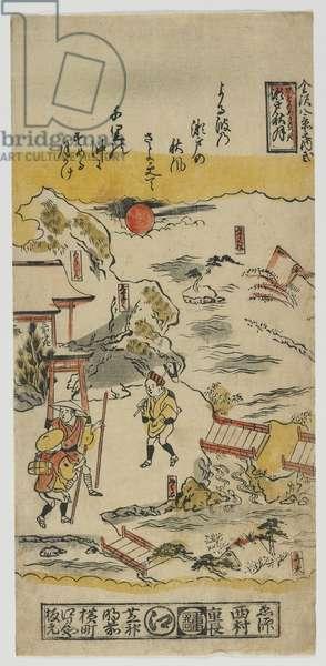 Eight Views of Kanazawa (no. 2) Edo period, c.1720s (colour woodblock print)