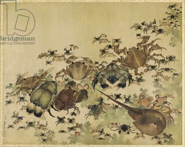 Crustaceans, Edo Period c.1825 (ink & colour on silk)