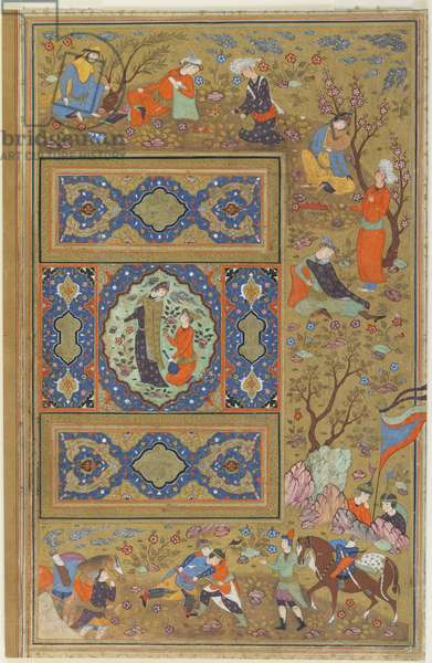 Folio from an album; verso: A pair of lovers, Isfahan, Iran, Safavid period, 1590-1610 (opaque watercolour, ink and gold on paper)