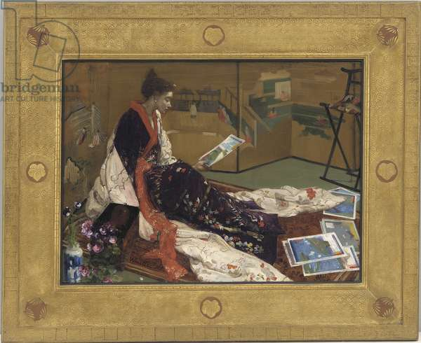 Caprice in Purple and Gold: The Golden Screen, 1864 (oil on wood panel)