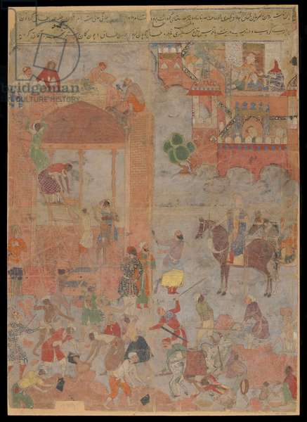 Anushirvan Lays the Foundation of Ctesiphon at an Auspicious Hour, Manuscript folio, c.1560-1565 (opaque watercolour, ink and gold on cloth, mounted on paperboard)