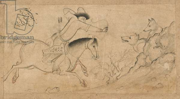 The Wolf Hunter, Isfahan, Safavid dynasty, 1642 (ink and colour on paper)