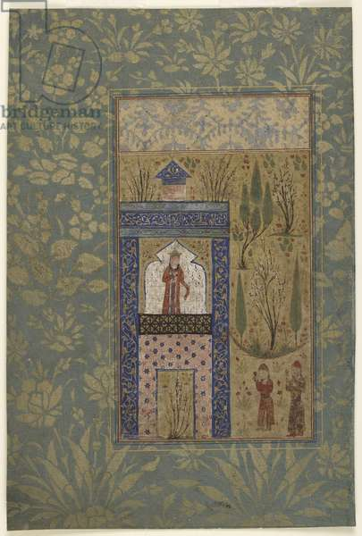 Folio from an Anthology; Two Youths before a Princess at a Window, Iran, 1417-18 (opaque watercolour and gold on paper)
