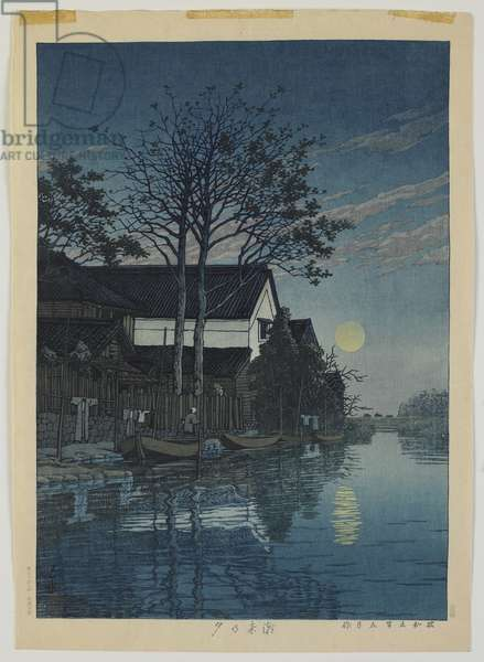 Lake in Moonlight, Showa era, 1930 (colour woodblock print)