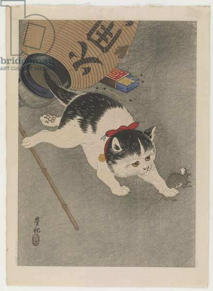 Cat and mouse, c.1930 (colour woodblock print)