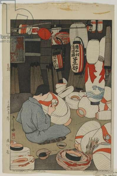 Lantern Maker, Taisho era, 1926 (colour woodblock print)