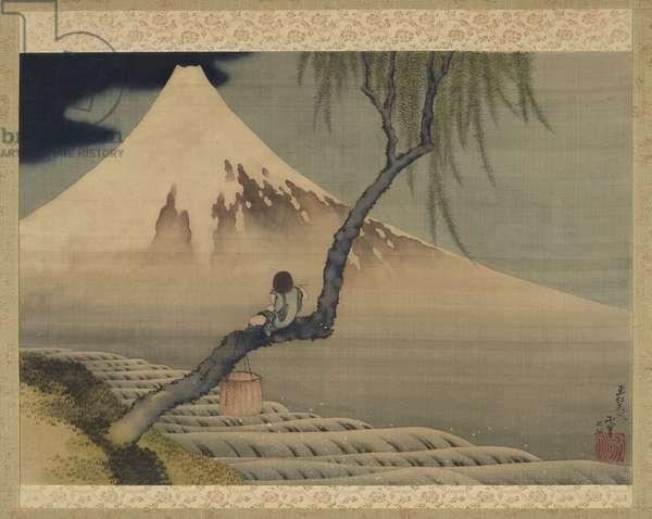 Boy viewing Mount Fuji, 1839 (ink & colour on silk)