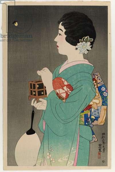 Catching Fireflies, 1931 (colour woodblock print)