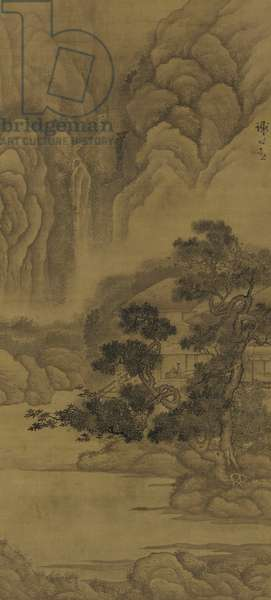 Reading in a Thatched Hut, Ming dynasty (inka nd colour on silk)