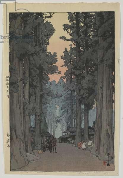 Cryptomeria Avenue, Showa era, 1937 (colour woodblock print)