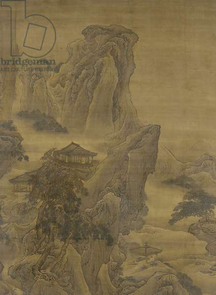 Misty River and Layered Cliffs, Ming dynasty (ink and colour on silk)