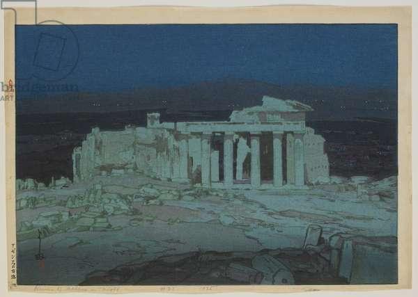 Acropolis - Night, Taisho era, 1925 (colour woodblock print)