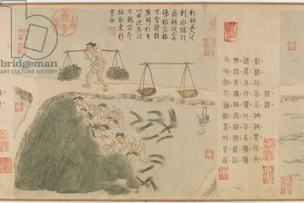 Tilling Rice, Yuan Dynasty (ink & colour on paper)
