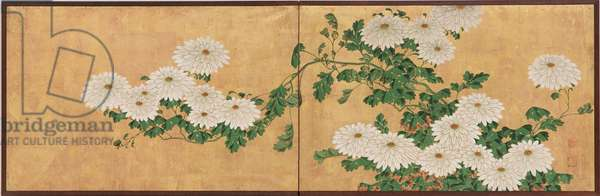 Chrysanthemums, Edo Period (ink, colour & gold on paper)