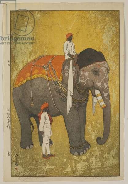 Elephant, Showa era, 1931 (colour woodblock print)