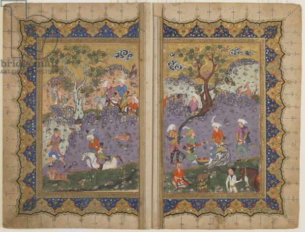 Folio from an unidentified text; verso: A Prince Seated upon a Rock Surrounded by Attendants, Isfahan, Iran, c.1600 (opaque watercolour, ink and gold on paper)