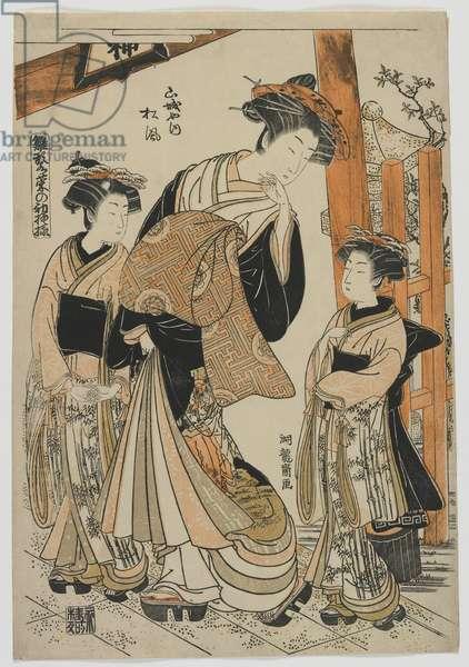 The Courtesan Matsukaze of Yamashiroya with Attendants, Edo period, 1778-80 (colour woodblock print)