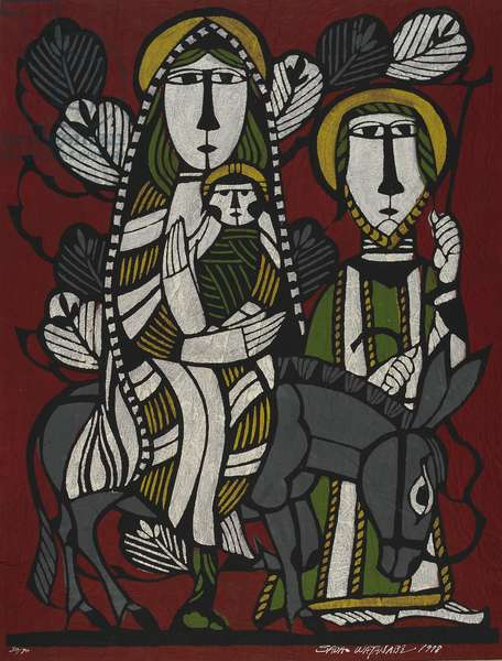 Mary, Joseph, and the infant Jesus, Showa era, 1978 (stencil print)