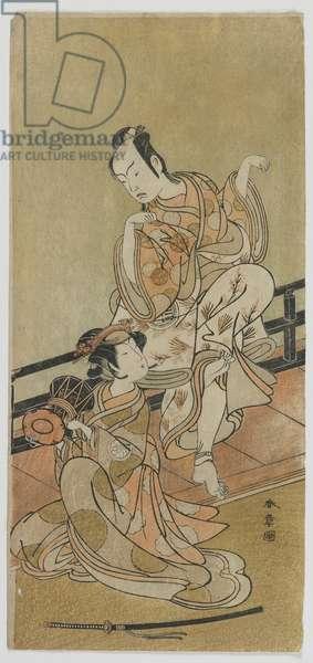 The Actors Arashi Sangoro II as Tadanobu and Segawa Kikunojo III as Shizuka Gozen in the Play Yoshitsune and the Thousand Cherry Trees, Edo period, 1774 (colour woodblock print)