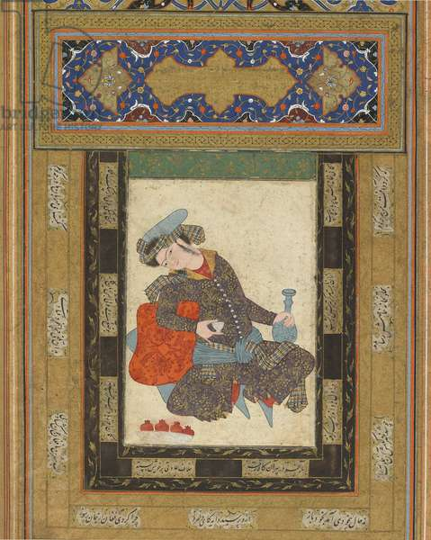 A Reclining Youth, Iran, Safavid period, c.1600-10 (opaque watercolour, ink and gold on paper)