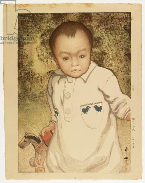 Portrait of a Boy, 1927 (colour woodblock print)