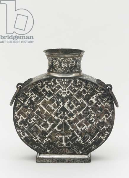 Wine flask (bianhu) with geometric decoration, Late Warring States (bronze with silver inlay)