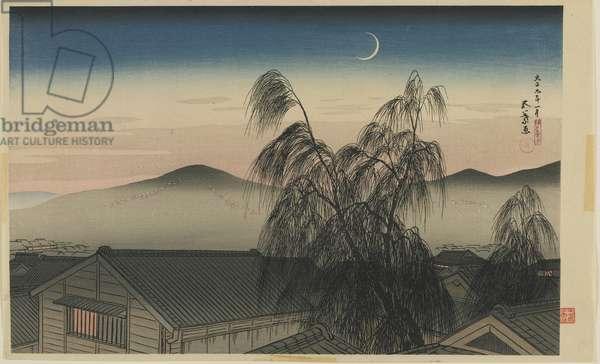 Evening Moon in Kobe (Kobe no yoizuki) Taisho era, January 1920 (colour woodblock print)