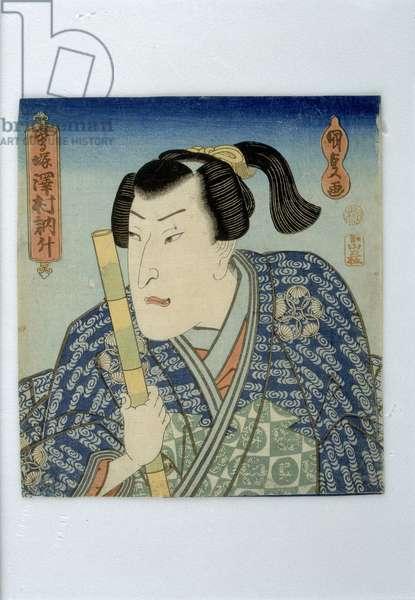 Actor Sawamura Tossho in the Play Uguisuzuka 'The Warbler Mound', Edo period, mid 1830s (colour woodblock print)