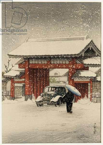 Shiba Great Gate in Snow, 1936 (colour woodblock print)
