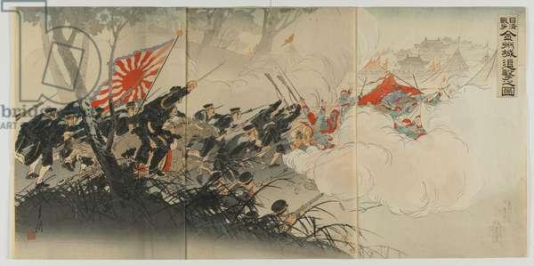 Battle at Jinzhou', Meiji era, 1894 (colour woodblock print)