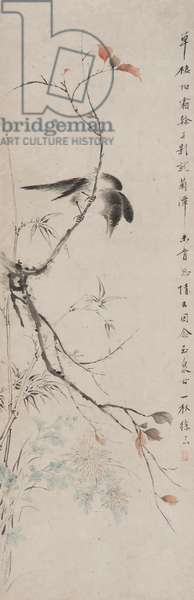 Bird on an Autumn Branch, Qing dynasty (ink & colour on paper)