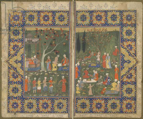 Folio from an unidentified text; verso: A party in a garden, Shiraz, Iran, c.1570 (opaque watercolour, ink and gold on paper)