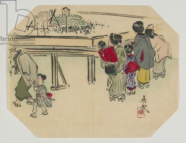 Print for an uchiwa, women and children, Meiji era, late 19th century (colour woodblock print)