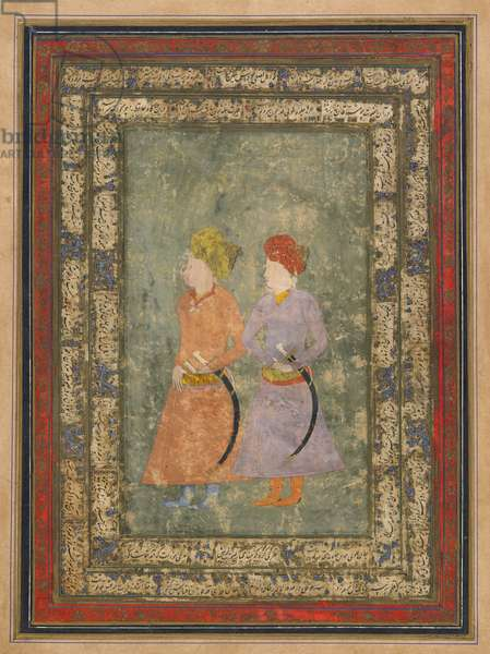 Two Persian noblemen, detached album folio with painting, mid-17th century (opaque watercolour, ink, and gold on paper)