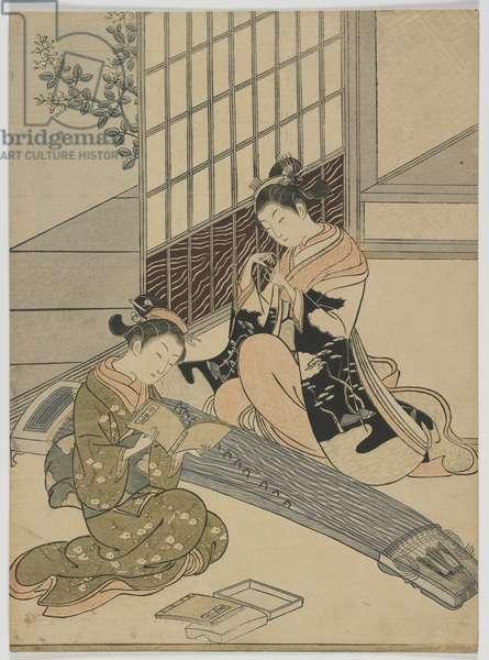 Descending Geese of the Koto, Edo period, c.1766 (colour woodblock print)