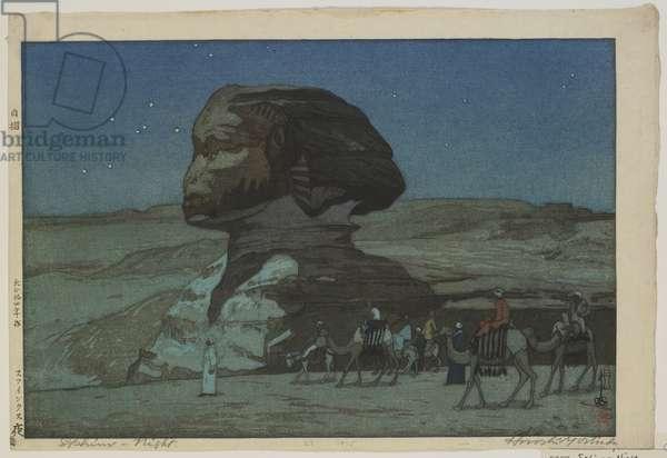 Sphinx - Night, Taisho era, 1925 (colour woodblock print)