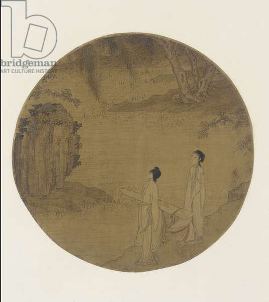 Two women with a qin (zither) (ink and colour on silk)