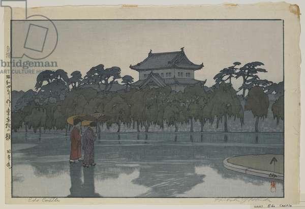 Edo Castle, from the series, Twelve Scenes of Tokyo, Showa era, 1929 (colour woodblock print)