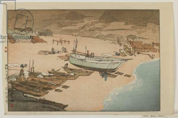 Boshu Beach, Showa era, 1927 (colour woodblock print)