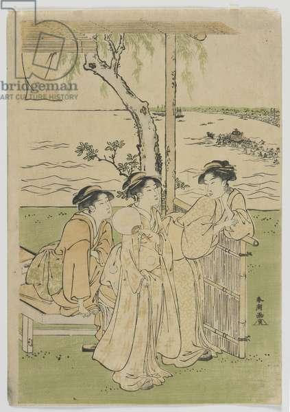 Three Beauties in Summer, Women at Takanawa, Edo period, mid 1780s (colour woodblock print)