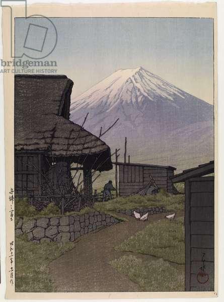 Mount Fuji in Funatsu, 1936 (colour woodblock print)