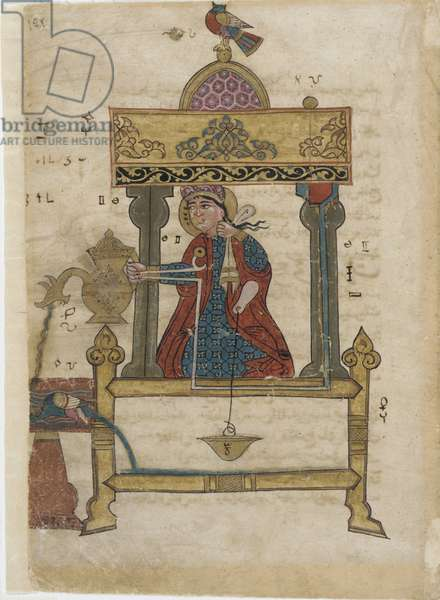Hand-washing automaton with flush mechanism, folio from 'The Book of Ingenious Mechanical Devices; by Al-Djazari, 1315 (opaque w/c, ink & gold on paper)