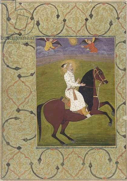 Equestrian portrait of Shahjahan (r. 1628-58), detached album folio, 1750-1770 (opaque watercolour on paper)