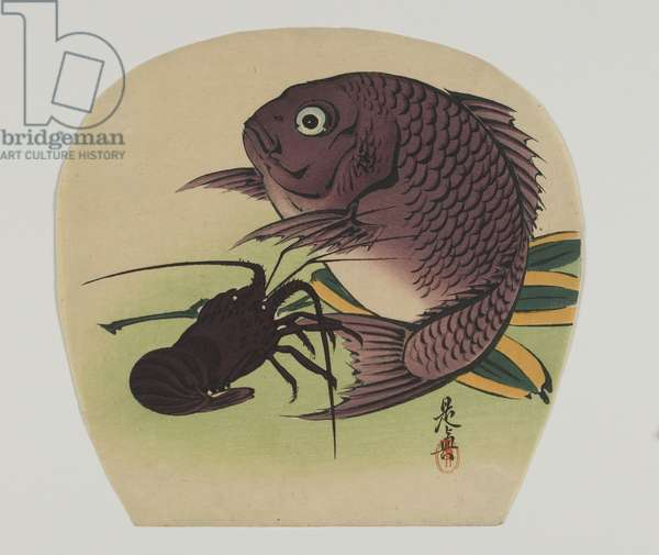 Print for an uchiwa; carp and lobster, Meiji era, late 19th century;
