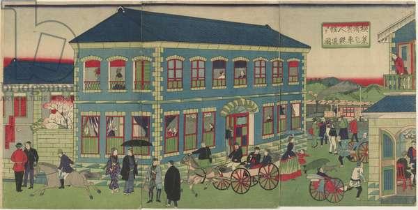 Picture of the Steam Train from the Foreign Establishments of Yokohama, Meiji era, 1876 (colour woodblock print)